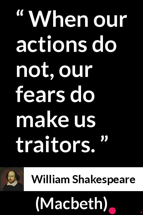 """William Shakespeare about fear (""""Macbeth"""", 1623)"""