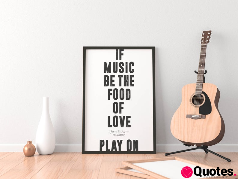 If Music Be The Food Of Love | Shakespeare Poster | Quote Print | Twelfth Night Poster | William Shakespeare | Wedding Gift