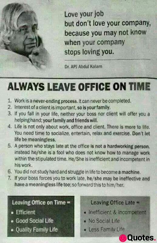 Leave the office on time